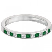 Channel Set Diamond & Emerald Ring Band 14k White Gold (0.60ct)|escape