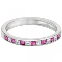 Princess Cut Diamond & Pink Sapphire Ring Band 14k White Gold (0.60ct)