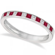 Princess Cut Diamond & Ruby Ring Band 14k White Gold (0.60ct)
