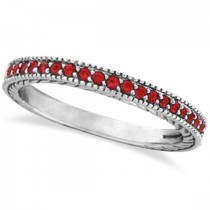 Garnet Stackable Ring Band Milgrain Edges 14k White Gold (0.25ct)