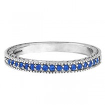 Blue Sapphire Stackable Ring With Milgrain Edges in 14k White Gold