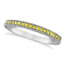 Fancy Yellow Canary Diamond Stackable Ring Band 14Kt White Gold  (0.31ct)