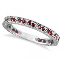 Garnet Stackable Ring Anniversary Band in 14k White Gold (0.27ct)