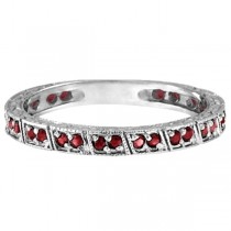 Ruby Stackable Ring Anniversary Band in 14k White Gold (0.27ct)