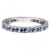 Blue Sapphire Stackable Anniversary Band in 14k White Gold