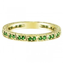 Emerald Stackable Ring Band 14k Yellow Gold
