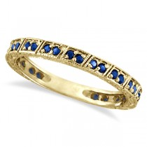 Blue Sapphire Stackable Ring Anniversary Band in 14k Yellow Gold