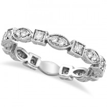 Antique Style Diamond Eternity Ring Band in 14k White Gold (0.36ct)
