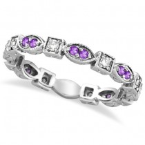 Amethyst & Diamond Eternity Anniversary Ring Band 14k White Gold