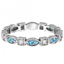 Aquamarine & Diamond Eternity Anniversary Ring Band 14k White Gold