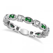 Emerald & Diamond Eternity Ring Anniversary Band Palladium