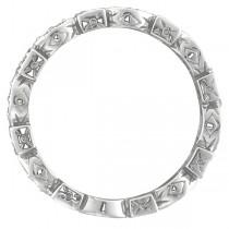 Emerald & Diamond Eternity Ring Anniversary Band Palladium