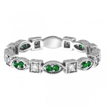 Emerald & Diamond Eternity Ring Anniversary Band 14k White Gold