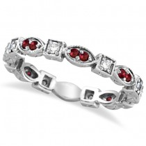 Garnet & Diamond Eternity Anniversary Ring Band 14k White Gold