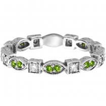 Peridot & Diamond Eternity Anniversary Ring Band 14k White Gold