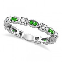 Tsavorite & Diamond Eternity Ring Anniversary Band 14k White Gold