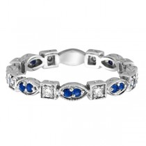 Blue Sapphire & Diamond Eternity Anniversary Ring Band 14k White Gold