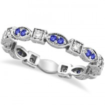 Tanzanite & Diamond Eternity Anniversary Ring Band 14k White Gold