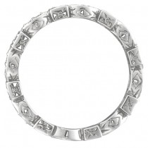 Yellow & White Diamond Eternity Antique Ring 14k White Gold (0.50ct)