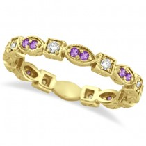 Amethyst & Diamond Eternity Anniversary Ring Band 14k Yellow Gold