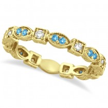Aquamarine & Diamond Eternity Anniversary Ring Band 14k Yellow Gold