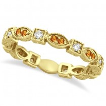 Citrine & Diamond Eternity Anniversary Ring Band 14K Yellow Gold