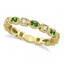 Emerald & Diamond Eternity Ring Anniversary Band 14k Yellow Gold