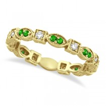 Tsavorite & Diamond Eternity Ring Anniversary Band 14k Yellow Gold