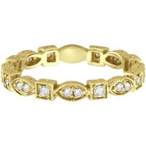 Antique Style Diamond Eternity Ring Band in 14k Yellow Gold (0.36ct)