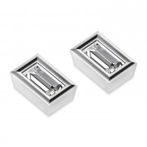 1.00ct Baguette-Cut Moissanite Stud Earrings 14kt White Gold (F-G, VVS1)