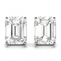 1.00ct Emerald-Cut Moissanite Stud Earrings 14kt White Gold (F-G, VVS1)