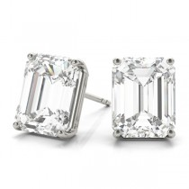 2.00ct Emerald-Cut Moissanite Stud Earrings 14kt White Gold (F-G, VVS1)