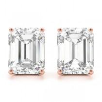 1.00ct Emerald-Cut Moissanite Stud Earrings 18kt Rose Gold (F-G, VVS1)