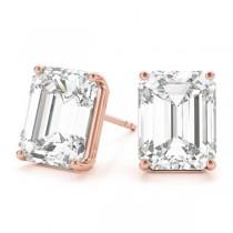 2.00ct Emerald-Cut Moissanite Stud Earrings 18kt Rose Gold (F-G, VVS1)