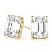 2.00ct Emerald-Cut Moissanite Stud Earrings 18kt Yellow Gold (F-G, VVS1)