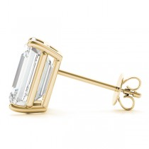 0.75ct Emerald-Cut Moissanite Stud Earrings 18kt Yellow Gold (F-G, VVS1)