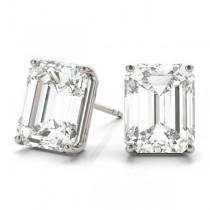 1.00ct Emerald-Cut Moissanite Stud Earrings Platinum (F-G, VVS1)
