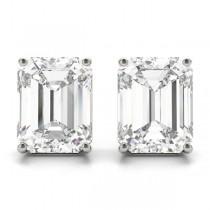 0.75ct Emerald-Cut Moissanite Stud Earrings Platinum (F-G, VVS1)
