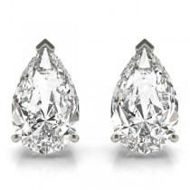 1.00ct Pear-Cut Moissanite Stud Earrings 14kt White Gold (F-G, VVS1)
