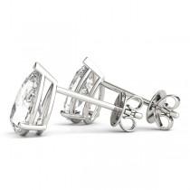 1.00ct Pear-Cut Moissanite Stud Earrings 14kt White Gold (F-G, VVS1)