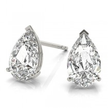 2.00ct Pear-Cut Moissanite Stud Earrings 14kt White Gold (F-G, VVS1)