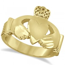 Authentic Irish Claddagh Heart Friendship Ring Band in 14k Yellow Gold