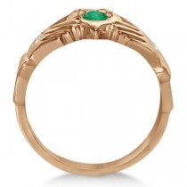Diamond & Green Emerald Ring Claddagh Irish 14k Rose Gold (0.35ct)