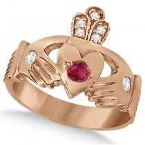 Irish Heart Crown Claddagh Ruby & Diamond Ring 14k Rose Gold (0.35ct)