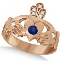 Irish Heart Diamond & Sapphire Claddgh Ring 14k Rose Gold (0.35ct)
