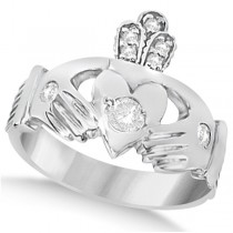 Irish Heart with Crown Claddagh Diamond Ring 14k White Gold (0.35ct)