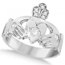 Irish Heart with Crown Claddagh Diamond Ring 14k White Gold (0.35ct)