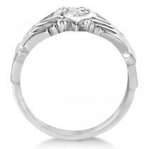 Irish Heart with Crown Claddagh Diamond Ring 14k White Gold (0.35ct)|escape