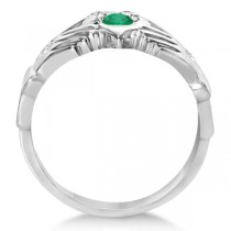 Diamond & Green Emerald Ring Claddagh Irish 14k White Gold (0.35ct)