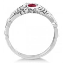 Irish Heart Crown Claddagh Ruby & Diamond Ring 14k White Gold (0.35ct)
